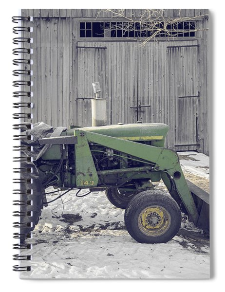 Old Tractor By The Grey Barn Spiral Notebook