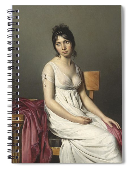 Portrait Of A Young Woman In White Spiral Notebook