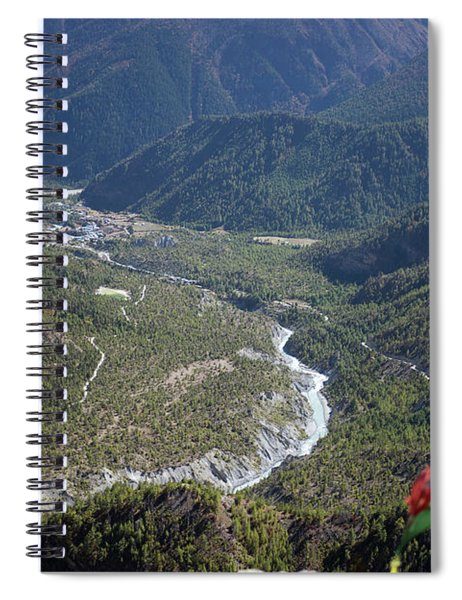 Prayer Flags In The Himalaya Mountains, Annapurna Region, Nepal Spiral Notebook