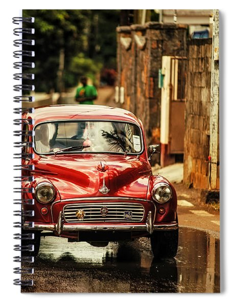 Red Retromobile. Morris Minor Spiral Notebook