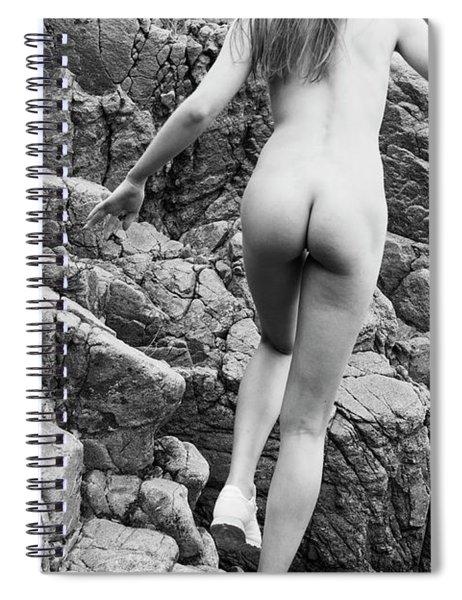 Running Nude Girl On Rocks Spiral Notebook