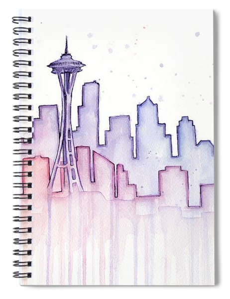 Seattle Skyline Watercolor Spiral Notebook