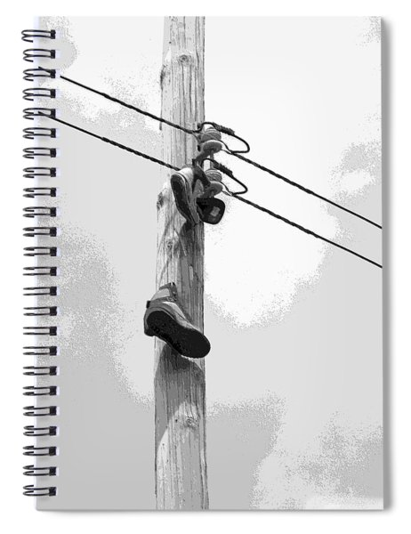 Spiral Notebook featuring the digital art Shoefiti 2160bw by Brian Gryphon