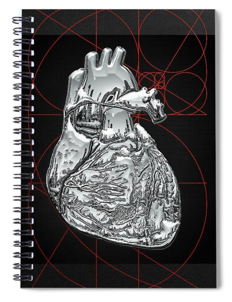Silver Human Heart On Black Canvas Spiral Notebook