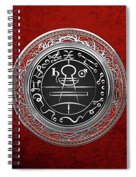 Silver Seal Of Solomon - Lesser Key Of Solomon On Red Velvet  Spiral Notebook