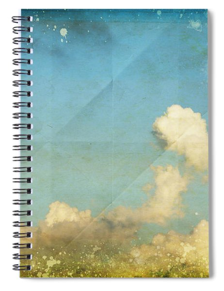 Sky And Cloud On Old Grunge Paper Spiral Notebook