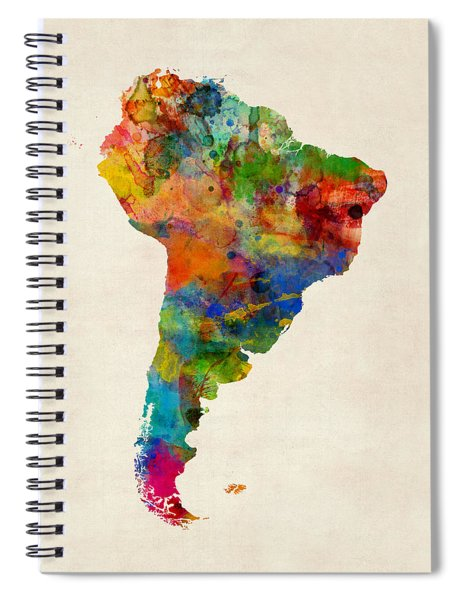 South America Watercolor Map Spiral Notebook