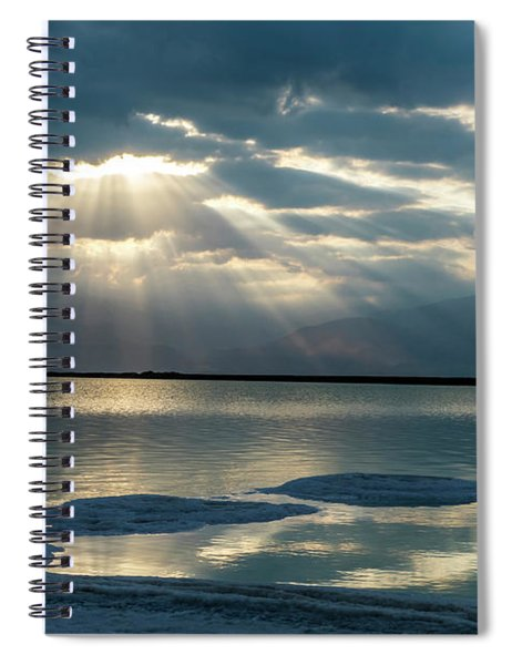 Spiral Notebook featuring the photograph Sunrise At The Dead Sea by Arik Baltinester