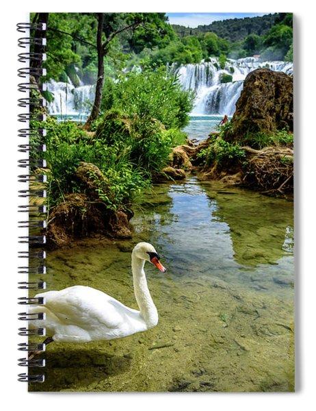 Swan In The Waterfalls Of Skradinski Buk At Krka National Park In Croatia Spiral Notebook