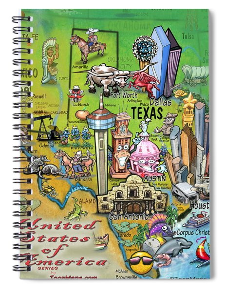 Texas Fun Map Spiral Notebook