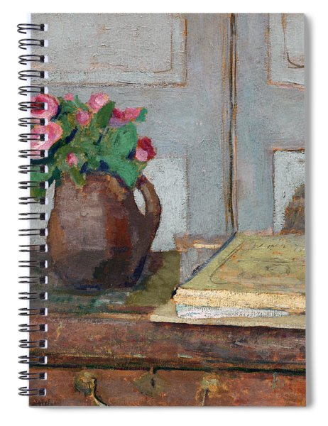 The Artist's Paint Box And Moss Roses Spiral Notebook