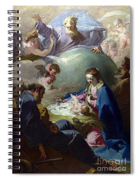 The Nativity With God The Father And The Holy Ghost Spiral Notebook