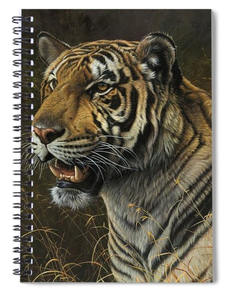 Spiral Notebook featuring the painting Tiger Portrait by Alan M Hunt