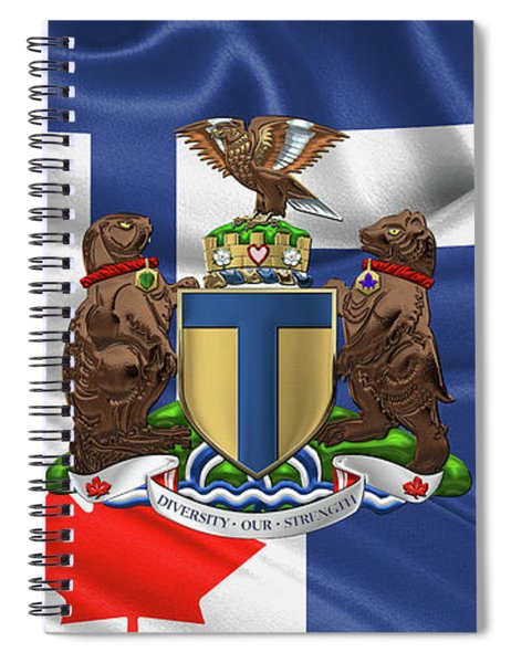 Toronto - Coat Of Arms Over City Of Toronto Flag  Spiral Notebook