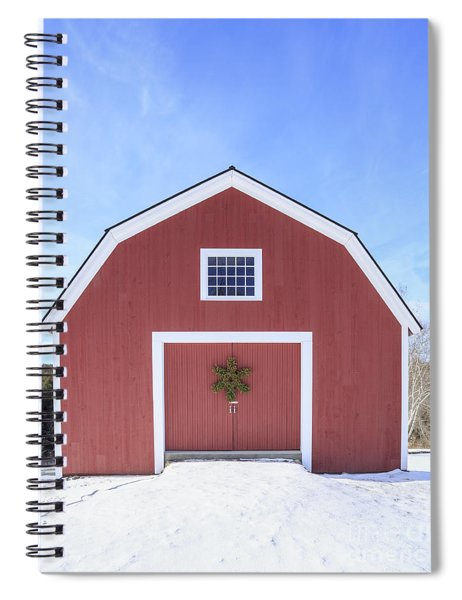 Traditional New England Red Barn In Winter Spiral Notebook