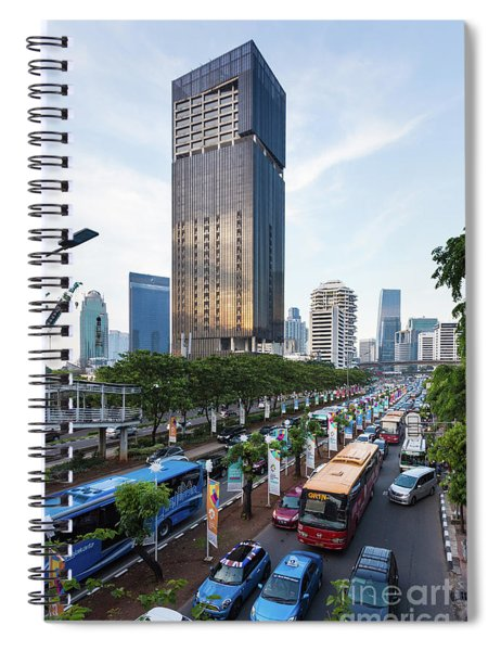 Traffic Jam In Jakarta Business District, Indonesia Capital City Spiral Notebook