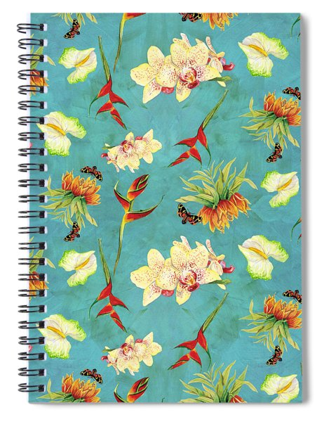 Tropical Island Floral Half Drop Pattern Spiral Notebook