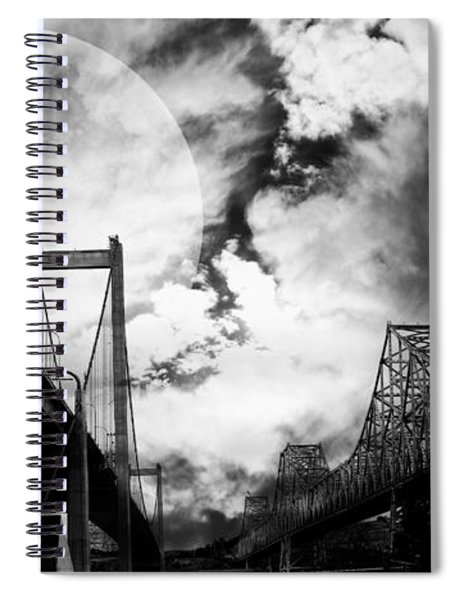 Two Bridges One Moon Spiral Notebook