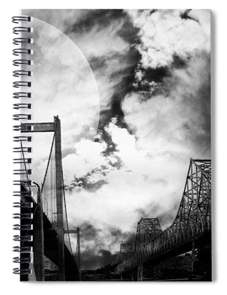 Two Bridges One Moon Spiral Notebook