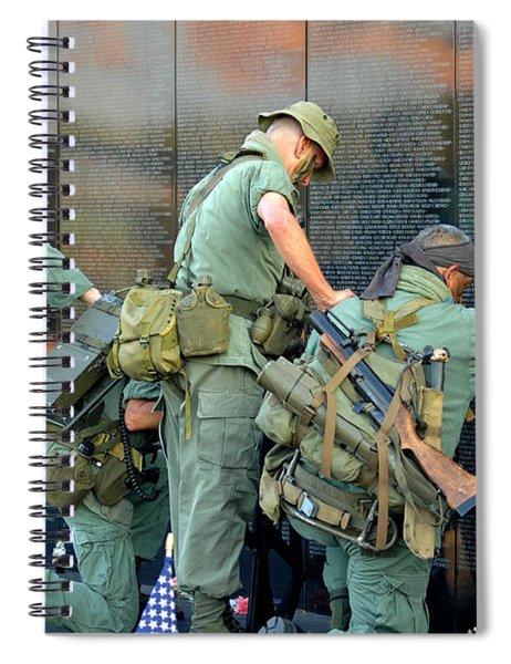 Veterans At Vietnam Wall Spiral Notebook