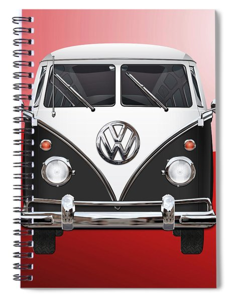 Volkswagen Type 2 - Black And White Volkswagen T 1 Samba Bus On Red  Spiral Notebook