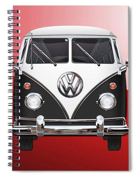 Volkswagen Type 2 - Black And White Volkswagen T 1 Samba Bus On Red  Spiral Notebook