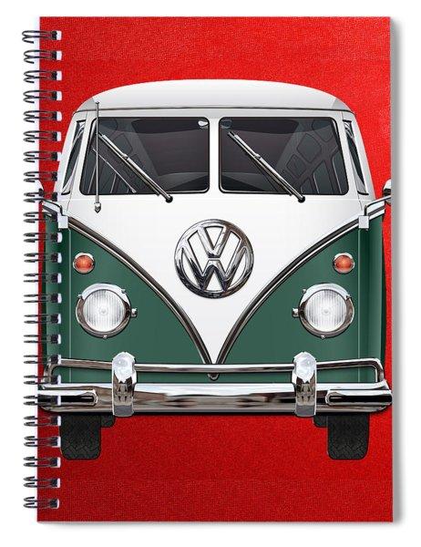 Volkswagen Type 2 - Green And White Volkswagen T 1 Samba Bus Over Red Canvas  Spiral Notebook