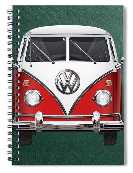 Volkswagen Type 2 - Red And White Volkswagen T 1 Samba Bus Over Green Canvas  Spiral Notebook
