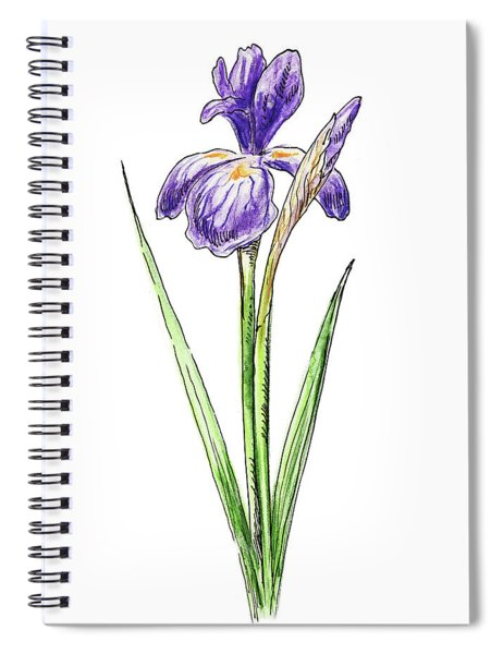 Watercolor Iris Flower Spiral Notebook