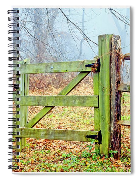 Wooden Fence On A Foggy Morning Spiral Notebook