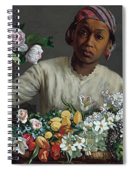 Young Woman With Peonies Spiral Notebook