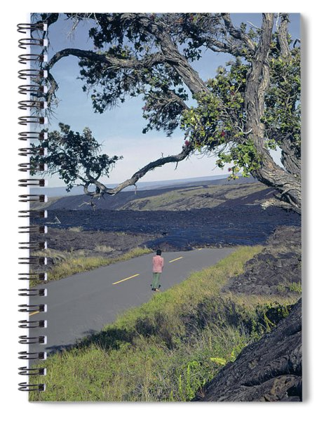 100924 Lava Covered Road Hi Spiral Notebook