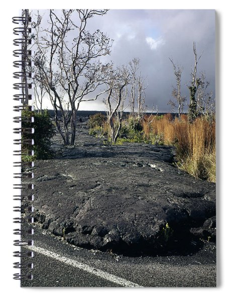 100925 Lava Flow On Road Hi Spiral Notebook
