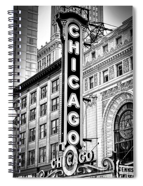 1077 Chicago Theater Black And White Spiral Notebook