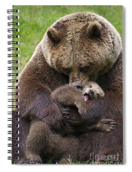 Mother Bear Cuddling Cub Spiral Notebook