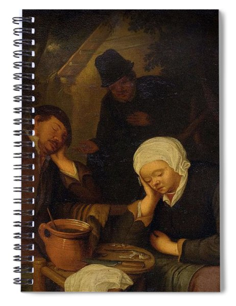 17th Century Follower Of Ostade, Adriaen Van 1610 Haarlem 1685 Interior With People Sleeping At A  Spiral Notebook