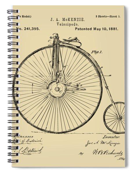 1881 Velocipede Bicycle Patent Artwork - Vintage Spiral Notebook