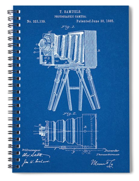 1885 Camera Us Patent Invention Drawing - Blueprint Spiral Notebook