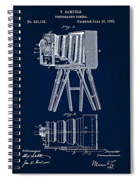 1885 Camera Us Patent Invention Drawing - Dark Blue Spiral Notebook