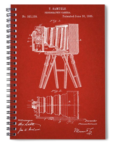 1885 Camera Us Patent Invention Drawing - Red Spiral Notebook