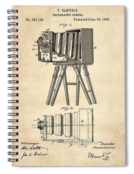 1885 Camera Us Patent Invention Drawing - Vintage Tan Spiral Notebook