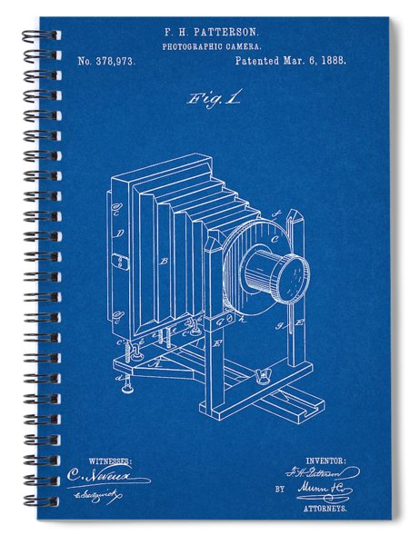 1888 Camera Us Patent Invention Drawing - Blueprint Spiral Notebook