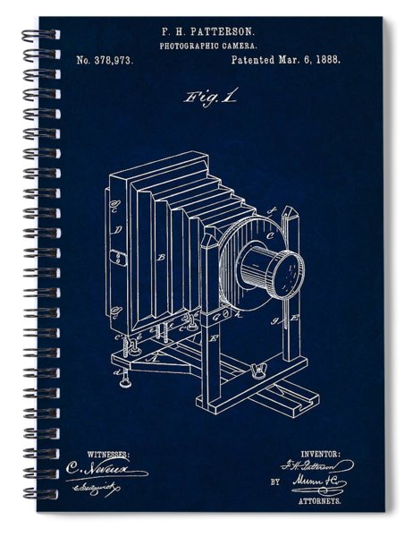 1888 Camera Us Patent Invention Drawing - Dark Blue Spiral Notebook