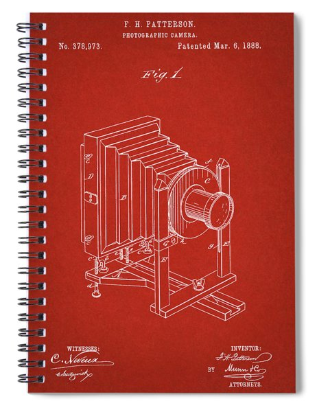 1888 Camera Us Patent Invention Drawing - Red Spiral Notebook