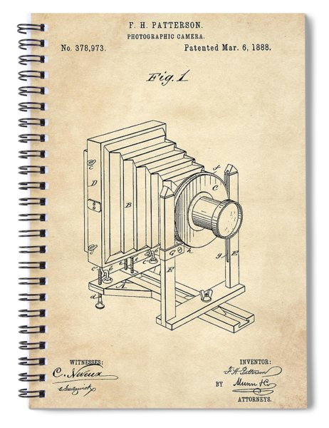 1888 Camera Us Patent Invention Drawing - Vintage Tan Spiral Notebook
