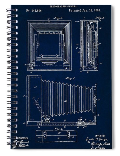 1891 Camera Us Patent Invention Drawing - Dark Blue Spiral Notebook