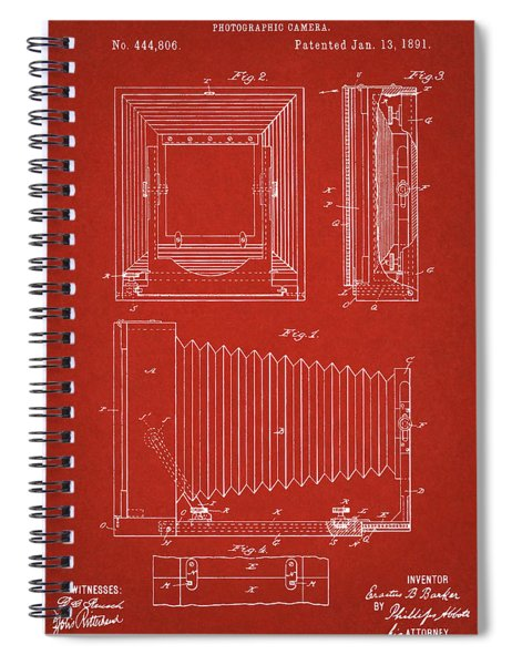 1891 Camera Us Patent Invention Drawing - Red Spiral Notebook