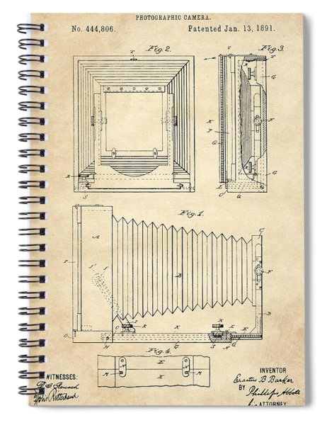 1891 Camera Us Patent Invention Drawing - Vintage Tan Spiral Notebook