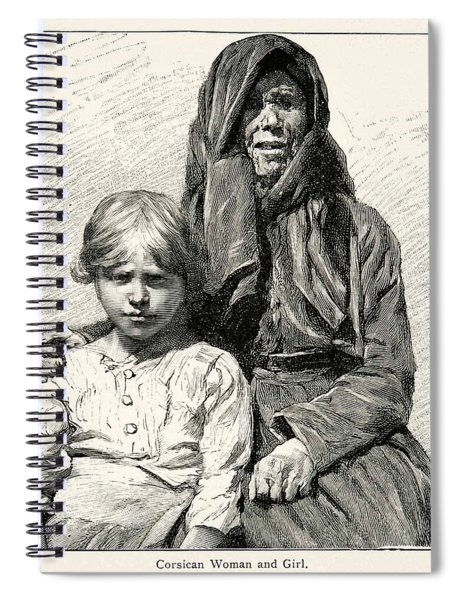 1896 Wood Engraving Gaston Vuillier Corsican Woman Child Native Portrait Spiral Notebook