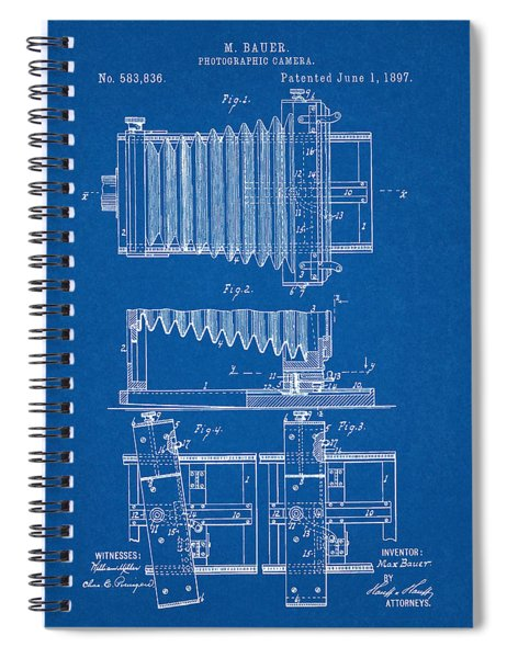 1897 Camera Us Patent Invention Drawing - Blueprint Spiral Notebook
